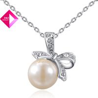 D&Z Platinum Bow Pearl Necklace Fashion necklace series