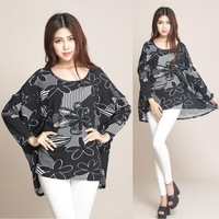 2014 Autumn and Winter Women Sweaters and Pullovers Batwing Sleeve Women's Vintage Printing Tops Sweater Plus Size 4XL 5XL 6XL