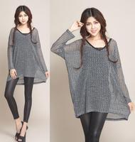 2014 Autumn Winter Dress For Women Casual Loose Long Tops Pullovers Batwing Sleeve Women's Sweater Dresses Plus Size XXL 3XL 4XL