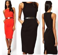 2014 New Women's Sexy Slim dress thin metal belt crew neck Sleeveless strapless Nightclubs Banquet Dresses free shipping