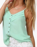2014 Spring Women Blouse Candy Color Lady Shirts Sexy Chiffon Blouse Strap Vest Tops