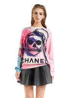 2014 Autumn Latest New Women 3D Ponytail Spoof Skull Print Sweatshirts Plus Size S M L XL Pullovers