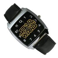 Star Wars Black Leather Band Fashion Boy Man Wrist Steel Watch Free Shipping