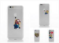 10pcs/lot wholesale cute cartoon Despicable Me phone cases for apple iphone 6 4.7inch Minions cover capa celular free shipping