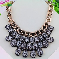 2014 New Arrival Lepord Crystal Necklace Statement Retro Exaggerated Collars Necklace For Women 9299