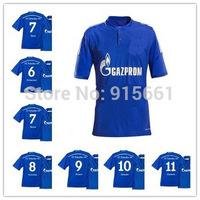 14 15 Schalke 04 Home Blue Jerseys Draxler Kolasinac Farfan Raul Meyer Prince Football Soccer Uniforms 2014 15 best quality