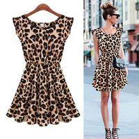 Fashion New Sexy Womens Ladies Leopard Print Sleeveless Mini Swing Flared Party Dress Top S-XXL