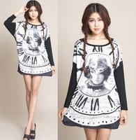 2014 New Fashion Summer Autumn Long Sleeve Dress For Women Casual Plus Size XXL XXXL 4XL Printed Dresses Patchwork Long Shirts