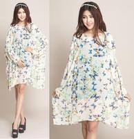 2014 Summer Autumn New Fashion Women Vintage Casual Dress Plus Size 4XL 5XL 6XL Chiffon Bohemian Dresses Animal Butterfly Print