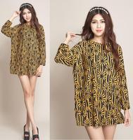 2014 New Fashion Autumn and Winter Women Retro Vintage Dresses Casual Loose Dresses Plus Size XXL XXXL 4XL Tops Tees Long Shirts