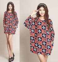 Big Plus Size XXL XXXL 4XL Winter Dresses For Women 2014 New Fashion Women's Casual Printed Sweater Dress Vintage Dresses