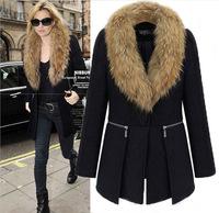 2014 women fur collar winter coat women's long wool winter coats woollen coat women overcoat plus size women clothing