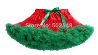 Wholesale Girls Chiffon Pettiskirt Children Baby Red With Green Christmas Style TuTu Skirt Kids Clothes Free Shipping 5 Pcs