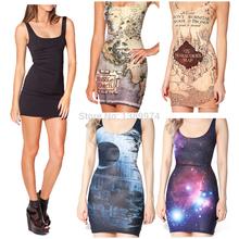 roupas baratas china senhor dos anéis vestido casual vestido impresso mulheres harry potter star wars galaxy vestido preto plus size(China (Mainland))