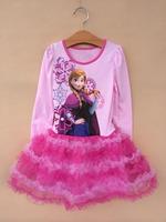 Retail 2014 Frozen Long Sleeve Dress with Elsa&Anna Princess Autumn Nightshirt Girl Print  tutu Dress Brand girl clothes D012