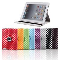 dot 360 degree rotating swivel stand magnetic PU leather case smart cover smartcover for new ipad 4 ipad 3 ipad 2,Free Shipping