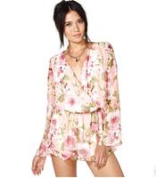 2014 Newest Elegant Brief Europe America Women Jumpsuit Flora Print Sexy Chiffon Deep V-neck Macacao Trend All-match Base Romper