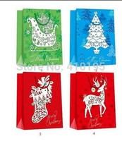 Free shipping 20pcs/lot 32*26*10cm Fashion chrismas gift paper bag,christmas deer handle paper bag