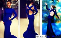 2014 New Arrival High Neck Long Sleeve Criss Cross Backless Royal Blue Evening Party Dresses Sexy Mermaid Prom Gowns CS020