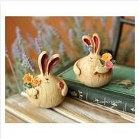 Cute long ear rabbit resin craft, garden style home decoration garden decoration ,creative gadget lovers gift ,free shipping