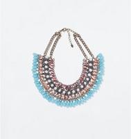 HANDMADE BLUE DROP CHOKER STATEMENT NECKLACE 2014 new design fashion ZA brand jewelry necklace for women