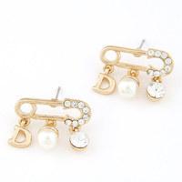 Newest Boutique fashion korean temperament CZ Diamond crystal gem pearl individuality women earring pendant ear stud 11053837