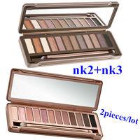2pieces/lot Wholesale New 2014 NAKE 3 Makeup Set 12 Colors Palette NK2 NK3 Eyeshadow Palettes nude tude Makeup Drop Shipping