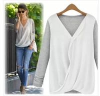 2014 Europe fall fashion mosaic knit chiffon chiffon shirt long sleeve fashion shirts-shirts