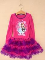 Wholesale 2014 New Frozen Spring Autumn Dress Children's clothing Lovely Long sleeve Anna&Elisa 2-8 age Tutu dresses  D013