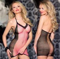 Free Shipping Sexy Lingerie Fishnet Crotchless Open Crotch Dress Bodystocking Fetish Black V neck
