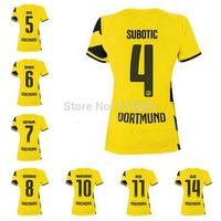 TOP Thai Quality Borussia Dortmund 2015 Jersey REUS MKHITARYAN HUMMELS HOFMANN Dortmund 14 15 Home Football Shirt Women jersey