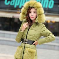 2014 New Fashion 100% Duck Down Elegant Lady Luxury Large Fur Collar Winter Coat Women Slim Medium-long Down Jacket Parkas JC053