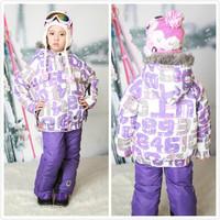 2014 New Children's Winter Clothing Set Windproof Zipper contrast color Letter hooded Fur Jacket+Bib Pants Kids Skiing Suit