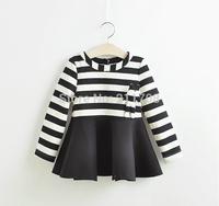 2014 fashion New Girls autumn/winter elegant long sleeve black dress kids girl party striped bear dress for children