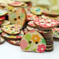 100 Pcs Mixed Printed Flower Heart Shape Wooden Sewing Buttons Scrapbooking DIY