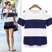 2014 summer new European&American women's short-sleeved striped T-shirt tops strapless wild bottoming shirt/tee, Good Quality