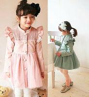 Free EMS 5pc/lot New Fashion Koran Style Manual Beading Girls Trench Long Outerwear Children Pincess Windbreaker Coat