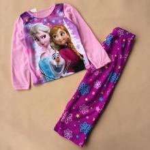 Retail 2014 Frozen Elsa&Anna&Olaf Pajama Set Princess Clothing Sets 2-8 Age Kids Clothing Snow Queen ChildrenPyjamas S020(China (Mainland))
