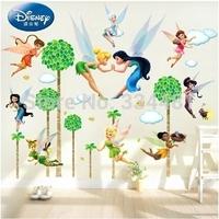 Free shipping New Arrival Large Cartoon PVC Wall stickers Tinker Bell Flower Angels For Kids Girls Romm Nursery Art Decor