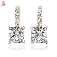 New Fashion 2014 Quadrate Gold Plated Crystal Shining Stud Earring For Women KUNIU ERZ0538
