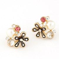 newest exquisite fashion korean sweet temperament CZ Diamond crystal gem pearl flower women earring pendant ear stud 11053838