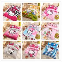Lovely Hello Kitty Home Textile 4pcs Bedding Set 3D Cartoon KT Cat Printed Duvet Cover Bed sheet Pillowcase bed linen 4pcs/set