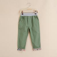 2014 Kids Casual Trousers Kids Boys Girls Fashion Plaid Pants Edge Fit 3-7 Yrs 5Pcs/Lot Cotton washing cloth Pants Free Shipping