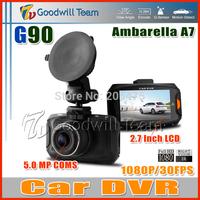 G90 Ambarella A7 Car DVR G90 Car Black Box Full HD 1920 x 1080P 2.7 Inch LCD170 Degree Lens IR night Vision H.264 HDMI Camera
