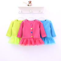 In Stock! Baby Girls Autumn Fashion Coats, Little girls lace cute outwear toddler infant clothes 4pcs/lot d191
