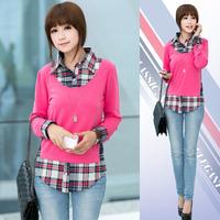Free Shipping 2014 Autumn Blusas Femininas Plaid Blouse Cotton Fake Two-Piece Long-Sleeved Asymmetric Causal  Women Blouses