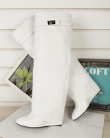 Factory price Real leather women knee boots White Buckle brand women long boots increasing Turn over booites on sale