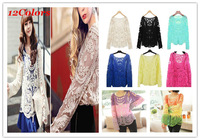 Free Shipping S-XL Womens Multi-Colors Sheer Embroidery Floral Lace Crochet Long Sleeve top blouse lace shirts#AN229