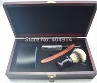 Shave Kit Straight Razor Shaving Knife Brush and leather Strop Wood Handle Shaving Knife #05