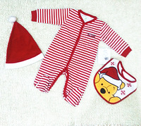 In Stock! Baby Boys Girls Chirstmas Clothing Sets, kid Cute hats + rompers + cartoon bibs 3pcs suits 5sets/lot d192